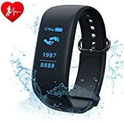 Fitness Tracker,CAMTOA HR Bluetooth Activity Tracker with Wrist Based Heart Rate Monitor,IP67 Waterproof Smart Wristband Bracelet With Calories Burned, Pedometer, Sleep Tracking|Call,Text Alerts etc.