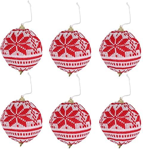 FZMT 6 Piezas de Bola de Lana Tejida para árbol de Navidad, Adornos navideños, decoración...