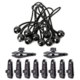 Kungfu Mall 10 PCS Bungee Cords Ball and 10 PCS Outdoor Clamp Clip for Tarpaulins Tents