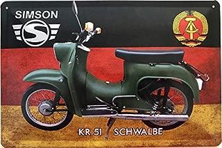 Generisch Blechschild 46x10cm gew/ölbt Simson Parking Only Deko Geschenk Stra/ßen Schild