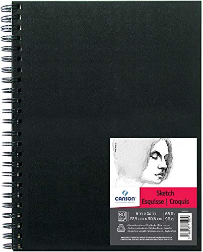 Canson Artist Series Sketch Book Paper Pad, for Pencil and Charcoal, Acid Free, Wire Bound, 65 Pound, 9 x 12 Inch, 80 Sheets