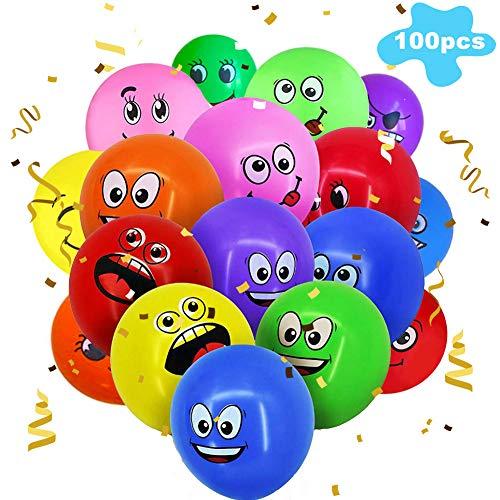 Emoji Luftballons,BETOY 100 Stück Emoji Balloons Smiley Latex Luftballons für Geburtstags Hochzeitsgeschenk Partydekoration (Zufällige Farbe)