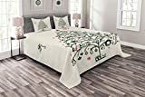 Ambesonne Christmas Bedspread, Fairies with Wands and Tree Hand Drawn Style with Wreath and Stockings Image, Decorative Quilted 3 Piece Coverlet Set with 2 Pillow Shams, Queen Size, Green Red