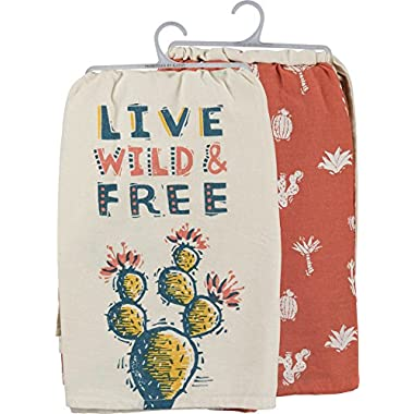 Primitives by Kathy 100% Pure Cotton Live Wild & Free Kitchen Towels Set of 2 - Coordinating Pair of Dish Towels with Colorful Cactus Patterns - 28  Square Dishtowels