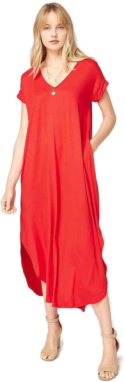 Entro Women's V Neck Short Sleeve Pocket Maxi 2021new Japan Maker New shipping free Dress