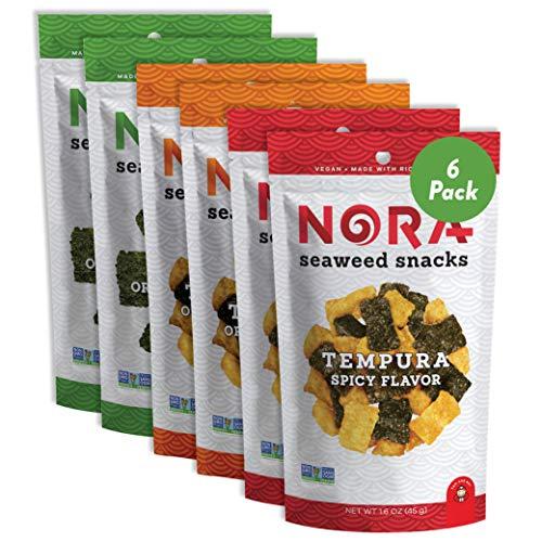 Crispy Seaweed Snacks by Nora   Asian Snacks   Taster's Variety Pack   Low-Sugar, Vegan, Non-GMO Verified   6-Pack