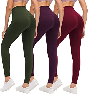 ZOOSIXX High Waisted Leggings for Women, Opaque Soft Slim Tummy Control Pants for Yoga Workout Running - 3 Pack (Olive, Vi...