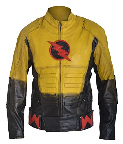 classyak moda Hombre de Reverse flash chaqueta de piel de cordero auténtica, amarillo, XXXL-Para Pecho 121,92 cm-127,00 cm