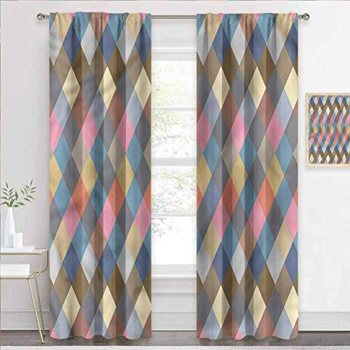 Grommet Window Curtain Geometric, Vintage Rustic Rhombuses Home Decor Window Treatments Draperies Made The Room Cooler and More Comfortable W84 x L84 Inch