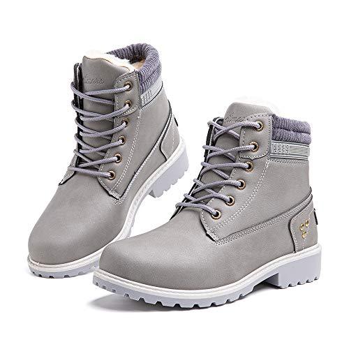 Botas Invierno Mujer Cálidos Forradas Zapatos de Invierno Clásicas Moda Botas de Nieve Antideslizantes con Cordones Planas 3.2 CM 3 Gris Talla 43 EU