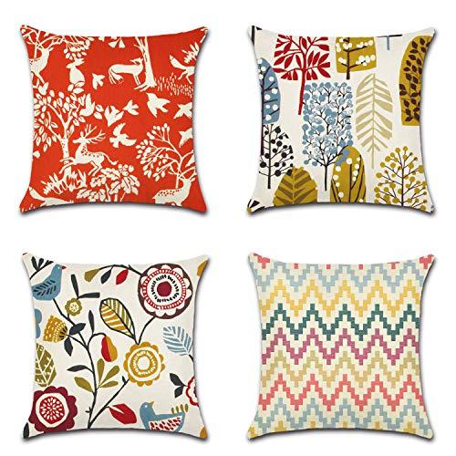 WITHYOU 4 piezas 45,7 x 45,7 cm flores Scrawl Throw funda de almohada decorativa de lino de algodón funda de cojín 45,7 x 45,7 cm para sofá y sofá