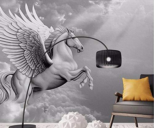 Tmosfera en blanco y negro Murales de Pegasus papel tapiz Sala de estar dormitorio pared papel tapiz 3d 430×300cm