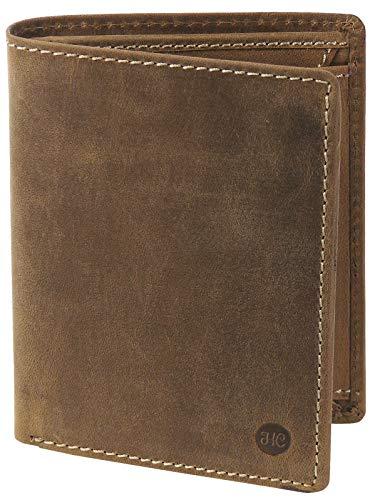 HC Herren hochwertige Geldbörse Hochformat Antikes Leder RFID Schutz, Farben:braun