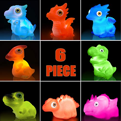 Aildysee Dinosaur Bath Toys (Battery Replaceable),6 Packs Light Up Floating Rubber Toys for Baby Children Toddlers,Pool Water Bathtub Shower Toys for Kids Preschool in Christmas Birthday
