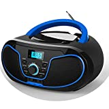 LONPOO CDプレーヤーポータブルスピーカーFM(NO AM,ない AM)、Bluetooth、USB、AUX入力、イヤホン出力