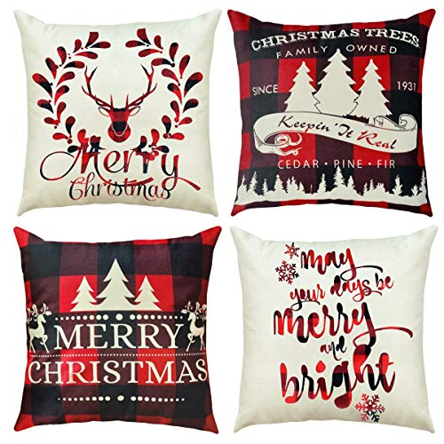 RioGree Christmas Decorations Pillow Covers 18x18 Set of 4 for Home Decor Throw Pillows Cover Buffalo Plaid Christmas Decorations Cushion Case-Red White