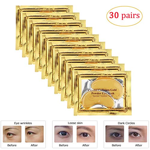 Adofect 30 Pairs Gold Collagen Under Eye Mask Anti-Aging Hyaluronic Acid 24k Gold Eye Patches for Moisturizing & Reducing Dark Circles Puffiness Wrinkles, Luxury Gift for Women and Men, Gold