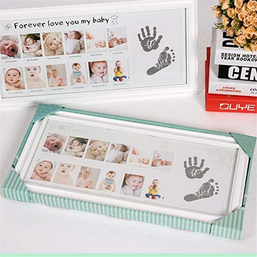 Marco de Fotos y Huellas de Bebé para Niño y Niña Marco múltiple - Mi Primer año Portafotos - Regalos de Recuerdo Cuadro Fotos y Recuerdos para Bebes #1