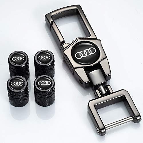"""""""N/A"""" 5 Pcs Metal Car Wheel Tire Valve Stem Caps Suit for Audi S Line S3 S4 S5 S6 S7 S8 A1 A3 RS3 A4 A5 A6 A7 RS7 A8 Q3 Q5 Q7 R8 TTWith Key Chain Logo"""