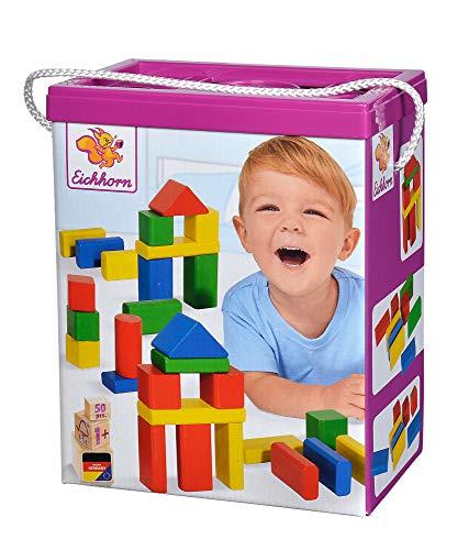 Eichhorn 100050161 50 bunte Holzbausteine in der Aufbewahrungsbox mit Kordel und Sortierdeckel, für Kinder ab 1 Jahr