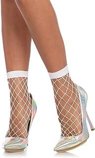 Leg Avenue Calcetines tobilleros para mujer Calcetines tobilleros de malla rugosa Blanco Talla única