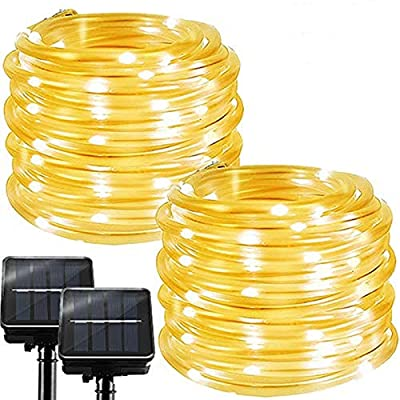 Chipark Solar String Lights Outdoor Rope Lights, 2 Pack 100 LED 8 Modes Waterproof Tube Light Copper Wire Fairy Lights for Garden Fence Patio Yard Summer Party Wedding Indoor Décor,Warm White