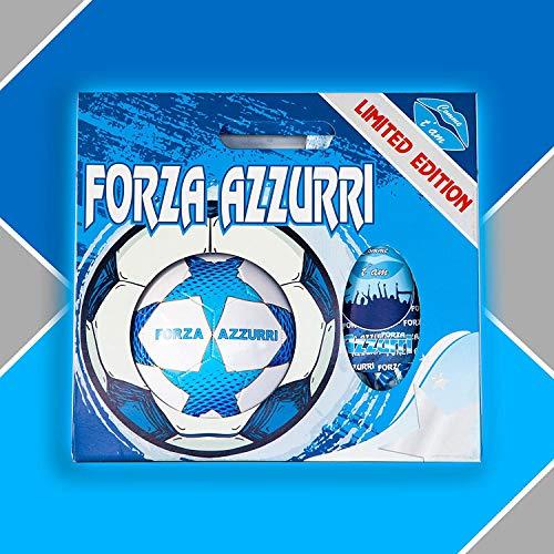 Pallone da Calcio Mis. 5 con Uova di Pasqua da 150gr. Cioccolato al Latte Forza Azzurri Star