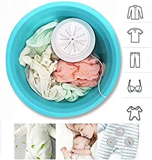 Jumix 2 in 1 Mini Washing Machine Cloth and Dish Washer Portable Personal Rotating Ultrasonic Turbine Washer with USB Cable Convenient - Y2020
