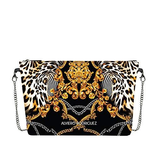 Alviero Rodriguez Borsa catena zip saffiano barocco leopardato oro nero diva bag saffiano baroque leopard
