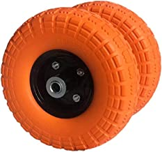 "AFT PRO USA 2-Pack 10"" Flat Free Tires Air Less Tires Wheels with 5/8"" Center - Solid Tire Wheel for Dolly Hand Truck Cart/All Purpose Utility Tire on Wheel (Orange)"