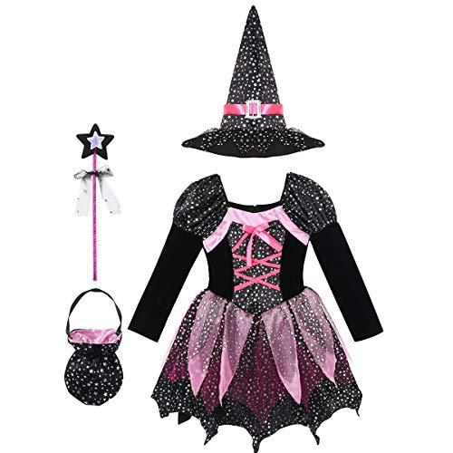 dPois Disfraz Bruja para Niña 3-10 Años Vestido Tutú Princesa Brillo Sombrero Bruja Bolsa de Dulces Varita Magica Disfraces Fiesta Halloween Carnaval Negro 4-5 Años