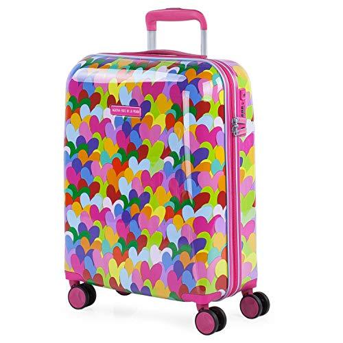 AGATHA RUIZ DE LA PRADA - Kleine draagbare koffer. Trolley 4 wielen 55x40x20 cm Polycarbonaat gestempeld met harten. Handbagage Stijf comfortabel en licht. Origineel ontwerp 131150, Color Fuchsia