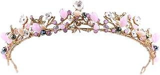 FELICILII Corona Rosa Cristallo Corona Accessori for Abiti da Sposa Gioielli da Sposa Copricapo da Sposa Rosa