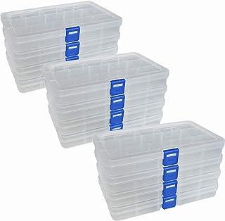 Qualsen Plastik Aufbewahrungsbox Einstellbar Fächer Sortimentskasten Schmuckschatulle Werkzeugcontainer 15 Raster X 12 Packungen, Transparent