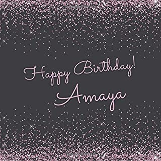 Happy Birthday Amaya: Cute sparkly pink personalized name birthday guest book for girls.