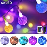 60er LED Lichterkette Außen Strom, Bunt Lichterkette Kristall Kugeln mit Fernbedienung, 10M IP65 Wasserfest Außenlichterkette Farbwechsel Deko...
