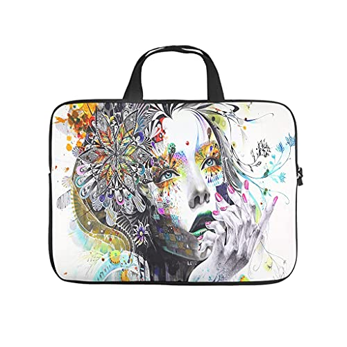 abstract flower hair girl Laptop bag Pattern Laptop Case Bag Colorful Dust-Proof Laptop Sleeve with Portable Handle for Women Men white 10 zoll
