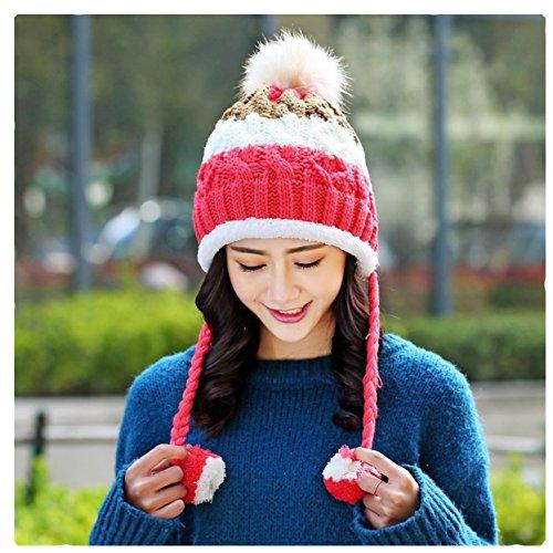 ECYC® Bonnet Tricoté Pom Pom Beanie pour Femmes Doublure Bonnet Skullies, Rouge