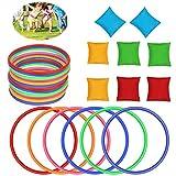 3 en 1 Juego al Aire Libre,Juegos de Lanzamiento de Anillos,Anillas Juego de Lanzamiento,Anillos de plástico Juego,anillos plástico colores,anillos plástico,Deportes Juego al Aire Libre (A)