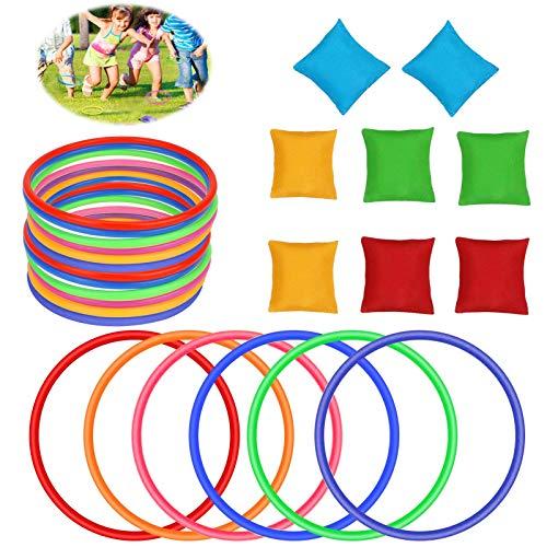 26 Stück Party Wurfspiele im Freien, Enthält Nylon Sitzsäcke, Weiche Kegel und Kunststoff Toss Ring, Sport Party Puzzle Spiele, für Kinder & Erwachsene - Indoor Outdoor-Aktivitäten Geburtstagsfeier