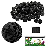 WZYTEU 100 Stück Bio Filterbälle,26 mm Bio Balls für Filtration Reinigung Aquarium Teich Wasserfall brunnen,Filtermaterial für EX Außenfilter(Hergeben:2 Stücke Aquarium Filtertüten)