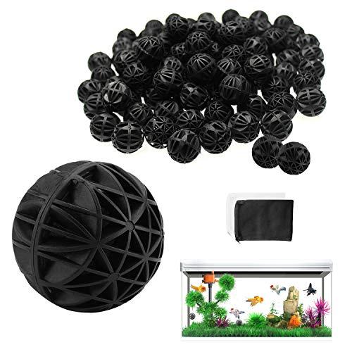 WZYTEU 100 pcs Bio Balle, 26mm Balle Biologique pour Fish Tank Pond Aquarium Fontaine Cascade Filtration et Nettoyage(Noir,donner 2 Filtre Media Sac)
