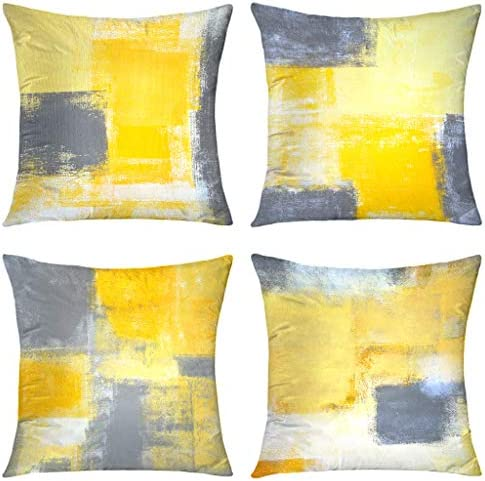 Alricc Yellow Throw Pillow Cover Pack of 4 Soft Velvet Decorative Cushion Cover for Sofa Bedroom product image