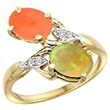 14k Yellow Gold Diamond Natural Orange Moonstone & Ethiopian Opal 2-stone Mothers Ring Oval 8x6mm,size8