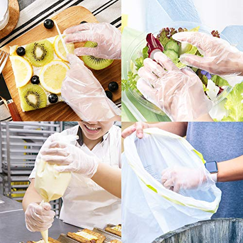 Disposable Gloves, 1000 Pcs Plastic Gloves for Kitchen Cooking Cleaning Food Handling by Teivio