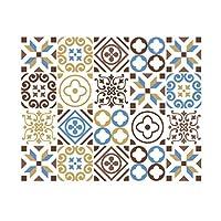 20個のタイルステッカー幾何学スタイルの家具ステッカー防水PVC壁紙ピールスティックキッチンbacksplashの浴室のタイルステッカーホームデコレーション,ブラウン,6x6 in