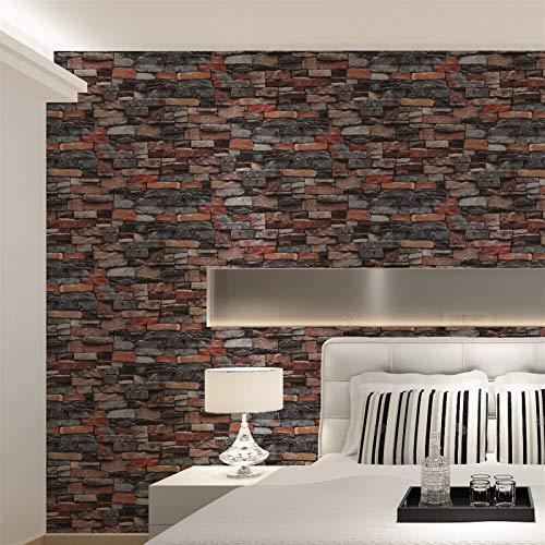 Rood, grijs vintage rustieke stenen bakstenen behang rol woonkamer slaapkamer restaurant achtergrond loft 3D print muur papier (Color : WP63100, Dimensions : 10mx53cm)