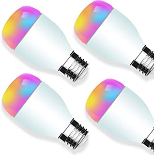 Smart Alexa Light Bulb Smart RGB Light Bulbs Adjustable Dimmable No Hub Required APP Controlled Compatible with Alexa and Google Home 6W 4 Pack - XUNTIY