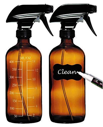 2 Empty Amber Glass Spray Bottles (16oz) with 8 Labels, 2 Caps, 2 White Markers and Free Funnel;...