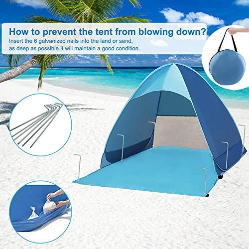 Ruixf Tienda de Playa Pop-Up Desplegable Instantánea para 2-4 Personas Anti UV - Incluye Bolsa de Viaje & Piquetas para Tienda, Azul